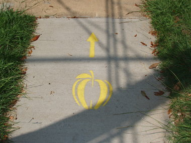 Apples mark improved walking routes in Hendersonville.