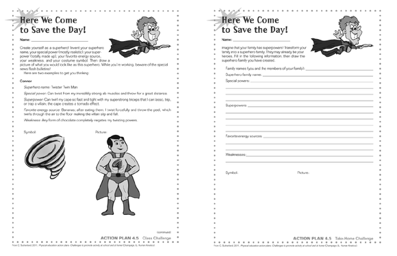 Physical Education Action Plans Here We Come to Save the Day – Superhero Worksheets