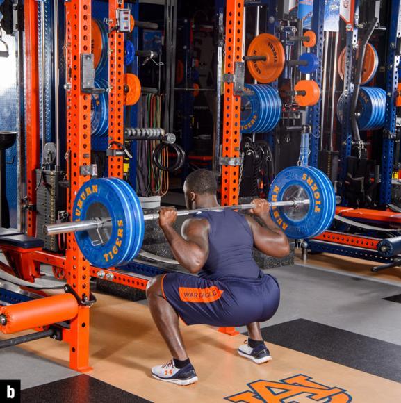 Figure 6.1 Back squat: starting position; squat.