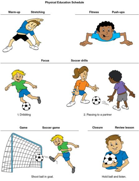Figure 10.2 Physical education sample pictorial schedule. The pictures allow the student to understand what is going to happen in the lesson from start to finish.