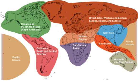 Regions of the world.