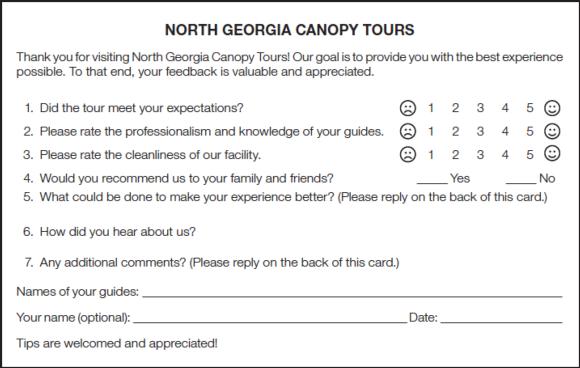 Figure 12.6Participant evaluation for a zip line canopy tour.